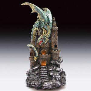 Light up Green Dragon Figurine Sitting on Castle