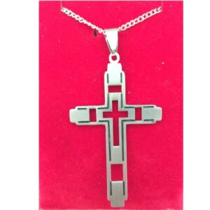 Cross Stainless with Cut Out Cross & Black Accents