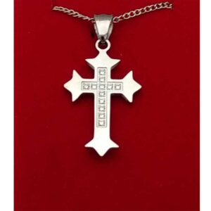 Stainless Cross with Four Budded Ends and CZ Cross in Center