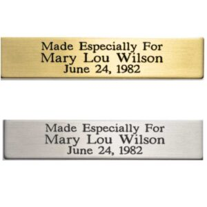 Nameplate for Art or Awards Brass or Silver Tone 1/2″ x 2.375″