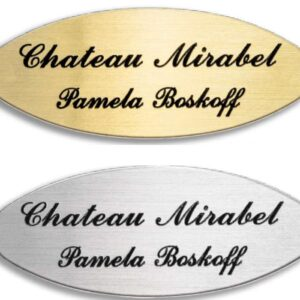 Oval Silvertone or Brass Nameplate 3/4″ x 1-7/8″