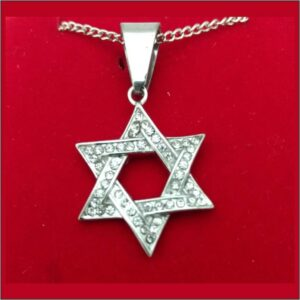 Star of David with Cz Accents Stainless Steel