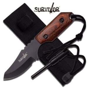 Fixed Blade Knife with Wood Handle, Fire Starter and Sheath