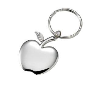 Apple Silver Tone Shiny Engravable Key Chain