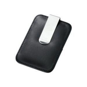 Money Clip Silver Tone with Black Leatherette Card Holder