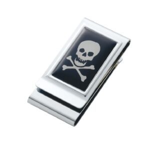 Money Clip Engravable Back with a Skull and Cross Bone
