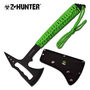 Axe with Skeletonized Head, Green Chord Wrapped Handle & Sheath