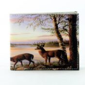 Deer By Lake Cabin Vegan Leather Wallet Front View LEVL566
