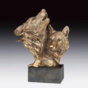 Bronze Toned Wolf Heads Figurine on Base