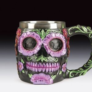 Sugar Skull Mug with Floral Designs on Back & Handle