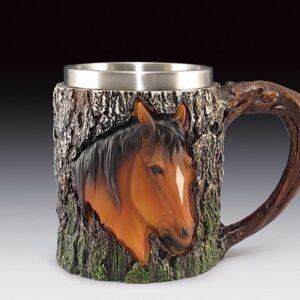 Horse Head in 3D Relief on Woodsy Mug