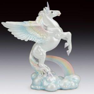 Rearing Unicorn on Cloud with Rainbow Figurine