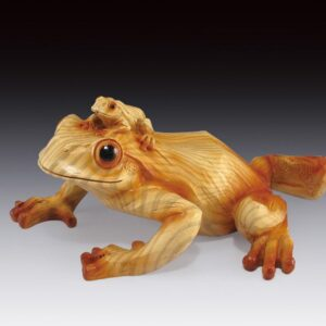 Frog Mom with Baby Wood-like Carving