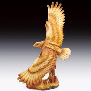 Eagle Soaring Full Wing Span Wood-like Carving