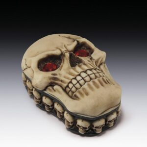 Skull Trinket Box with Red Jeweled Eyes