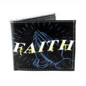 Faith With Praying Hands Vegan Leather Wallet Front View VL568