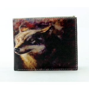Full Color Wolf Head Vegan Leather Wallet