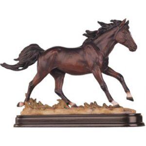 Brown Horse Trotting Figurine