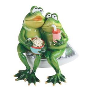 Frog Couple Snacking & Watching a Video Figurine