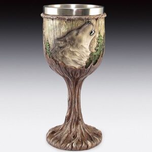 Howling Wolf Faces on a Woodsy Goblet