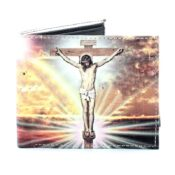 Jesus On The Cross Vegan Leather Wallet Opened Front View LEVL506
