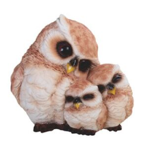 Mother Owl with Her Two Baby Chicks Figurine