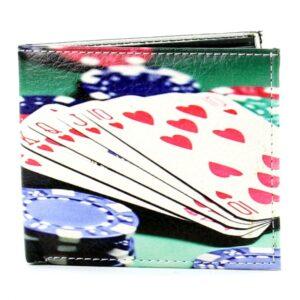 Poker Hand Bill Fold Vegan Leather Wallet