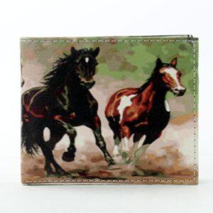 Running Horses Bill Fold Vegan Leather Wallet