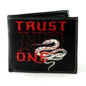 Trust No One Snake Vegan Leather Wallet Front View LEVL572