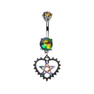 Belly Ring with Pentacle in Heart Dangling Charm