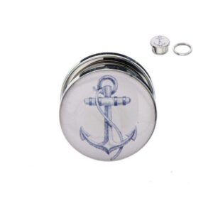 Anchor Motif Plugs Stainless Pair with Screw Fit