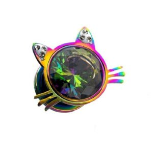 2 Cat Face Plugs Rainbow Colored with cz Gems