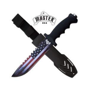 American Flag Design on Fixed Blade Knife, Hard-shell Case