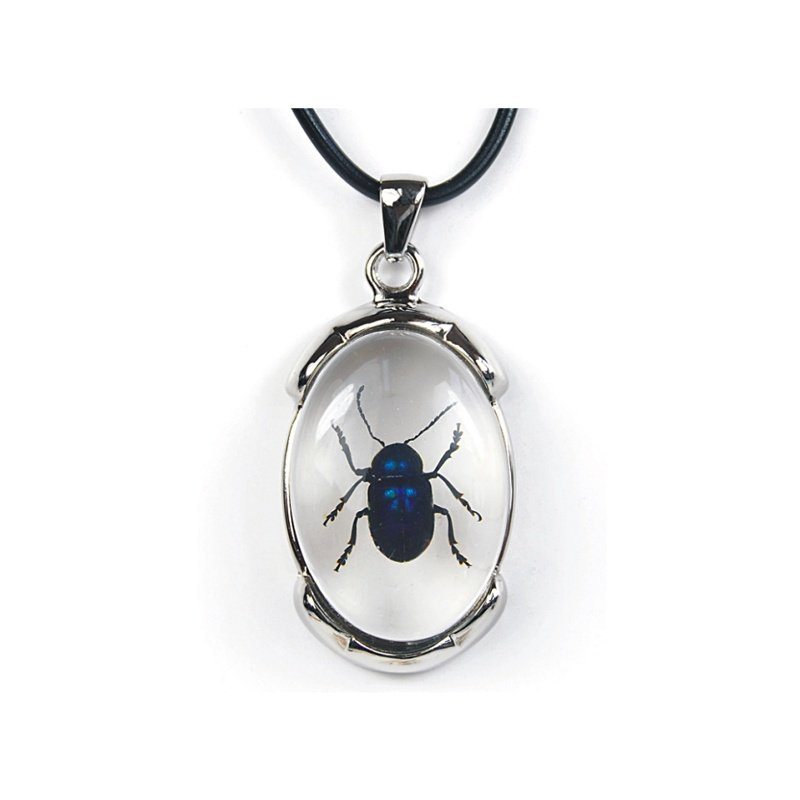 Beetle Blue Leaf Encased In Oval Pendant RIJSD0318