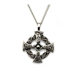 Cross Celtic in Circle Stainless Steel with Chain