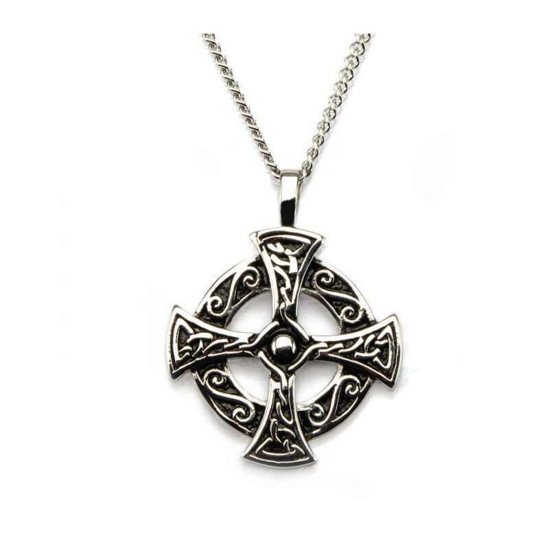 Cross Celtic In Circle Stainless With Chain BVSSP191WM