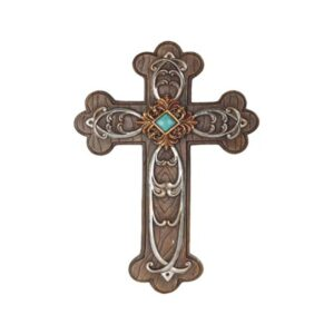 Cross Wood Like Metal Accents an Turquoise Center