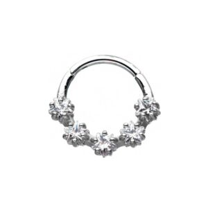 Seamless Hoop with Hinge and 5 Clear Cz Stones 16G