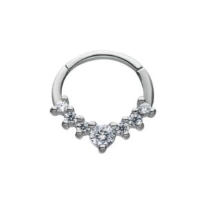 Hinged Seamless Hoop with 7 Cz Stones 16G