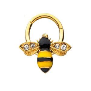 Bee Charm on Hinged Hoop in Gold Tones 16G