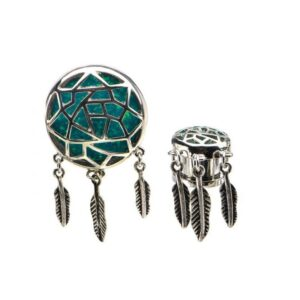 A Dreamcatcher with Dangle Feathers on Pair Plugs
