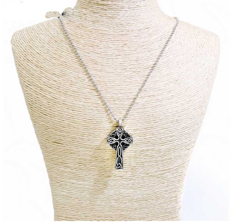 Ashes Necklace Urn Celtic Cross On Display ALE28CC