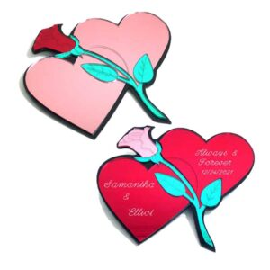 Double Heart With Rose Wall Plaque