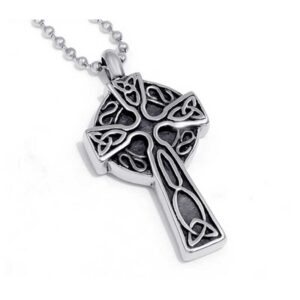 Celtic Cross Memory Urn Stainless Steel Necklace