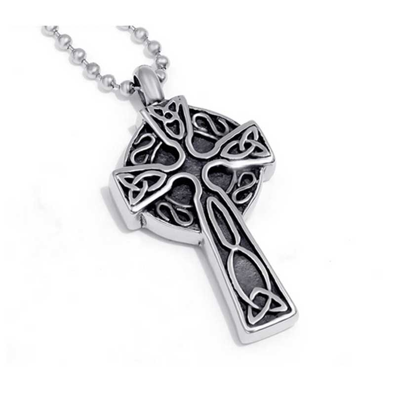 Memory Urn Necklace Stainless Celtic Cross ALE28