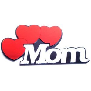 Mom with 3 Hearts Mirrored Wall Decor