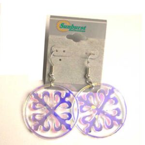 Circular Dangle Earrings with a 4 Pointed Center Design