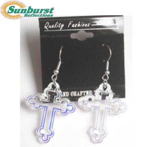 Cross with Bud Ends Dangle Earrings