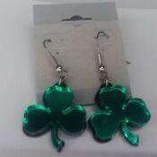 Shamrock Green Mirror Acrylic Earrings