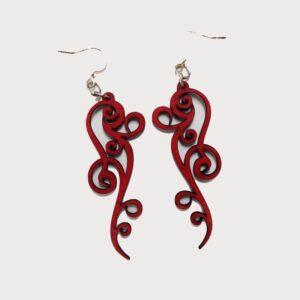 Laser Cut Ornate Scroll Wooden Earrings